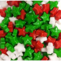 Csillag szórócukor - fehér, piros, zöld