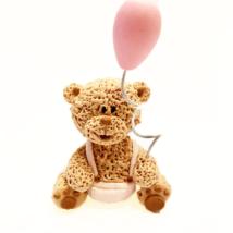 Cukorfigura - Maci rózsaszín lufival