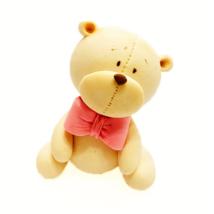 Cukorfigura - Maci rózsaszín masnival