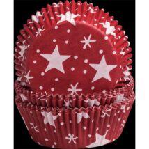 Muffin kapszli - piros, csillagos