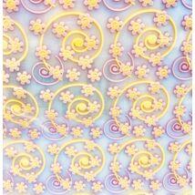 Csokoládé transzfer fólia - sárga, rózsaszín virágok