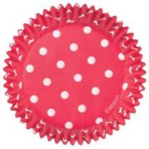 Muffin kapszli - piros, pöttyökkel 75 db-os