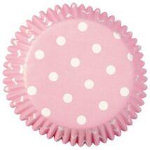 Muffin kapszli - rózsaszín, pöttyökkel 75 db-os