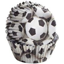Muffin kapszli - fekete-fehér focilabdák 36 db-os