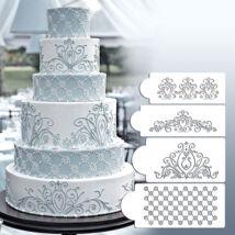Torta stencil szett - 3  különböző mintával