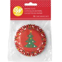 Muffin kapszli - karácsonyfa és díszgömbök