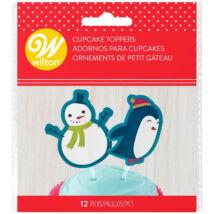 Muffin téli beszúrók - pingvin és hóember