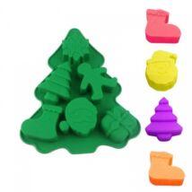 Szilikon fenyőfa forma - karácsonyi mintákkal