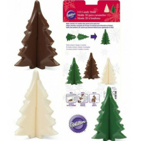 3 D-s csokoládé karácsonyfa öntőforma