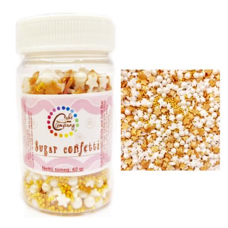 Arany-fehér cukorcsillagok és cukorgyöngyök